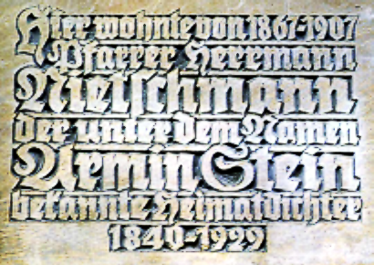 Plaque at the church St Maurice in Halle